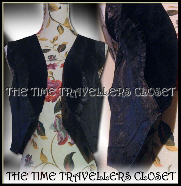 BNWT Kate Moss Topshop Ltd Ed Black Faux Suede & Leather Crop Waistcoat UK 12 14