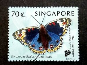 Singapore-1999-Butterflies-Sweden-Joint-Issue-The-Blue-Pansy-70c-1v-Used-2