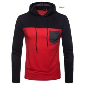 Men-039-s-Fashion-Color-Matching-Long-Sleeved-Pocket-Hooded-T-Shirt