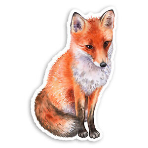 2-x-10cm-Cute-Fox-Vinyl-Stickers-Animal-Watercolour-Art-Laptop-Sticker-20804