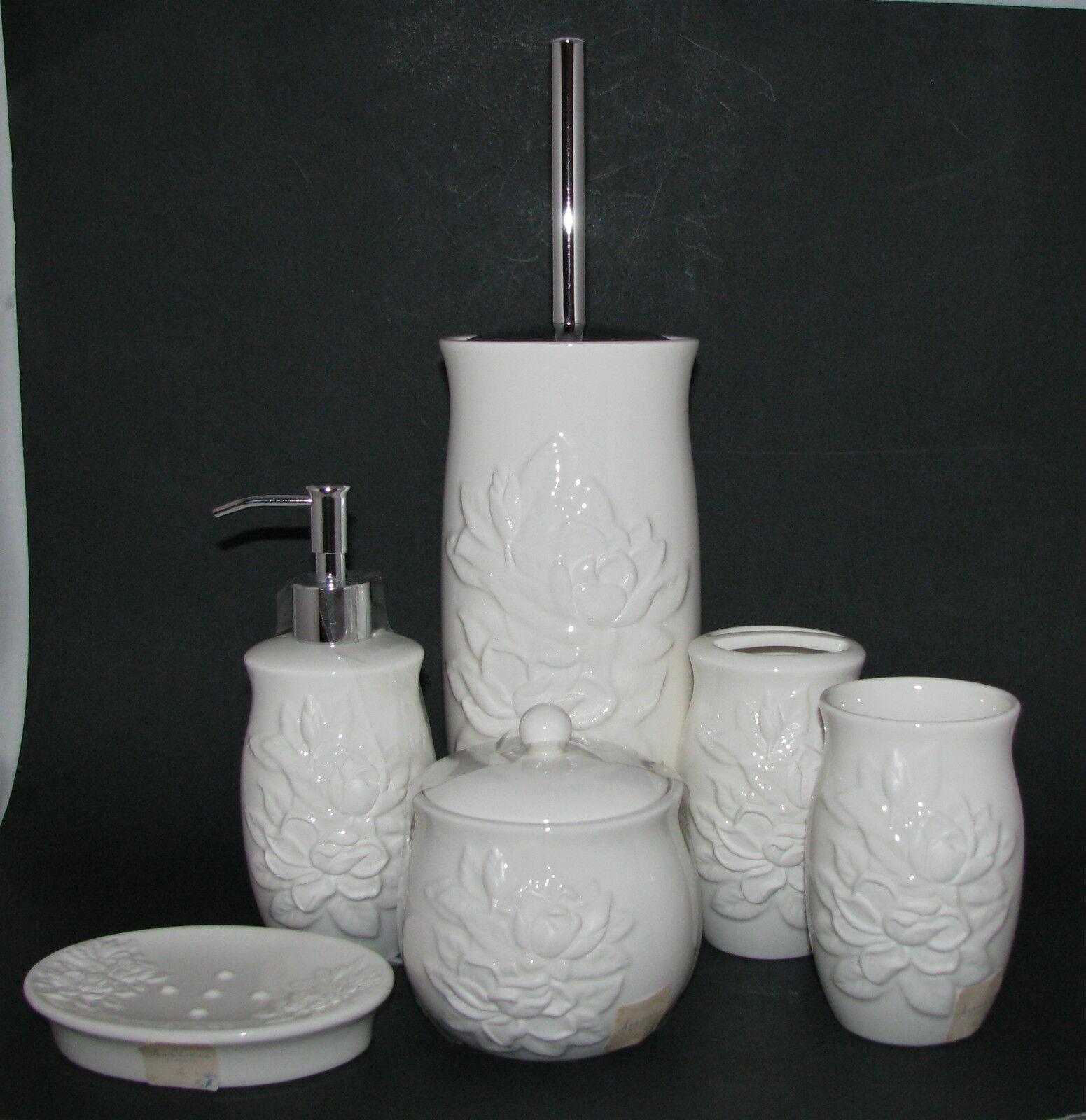 6 Pièces Artistique Ivoire Magnolia Céramique Distributeur de Savon,