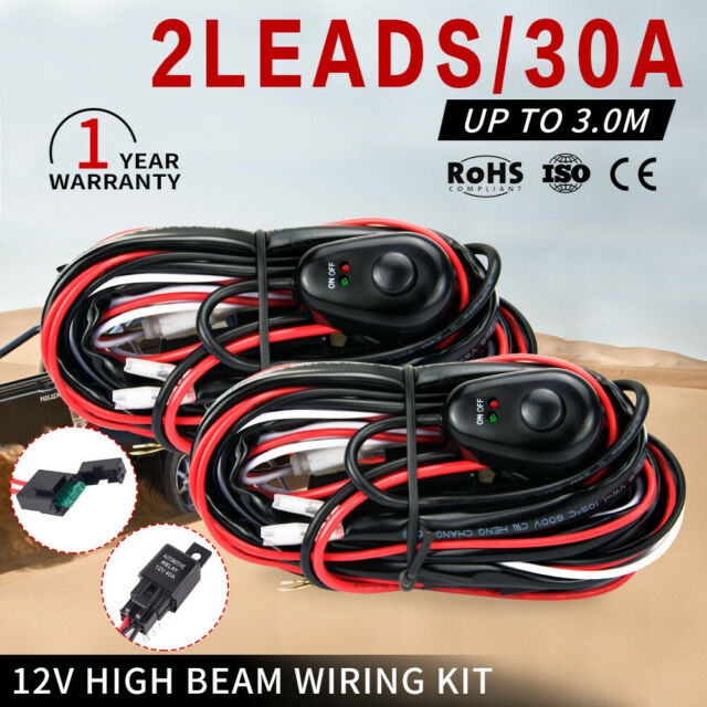 2x Wiring Loom Harness Kit 2 Way Work Driving Light Bar 12v 40a Led Hid Switch For Sale Online Ebay