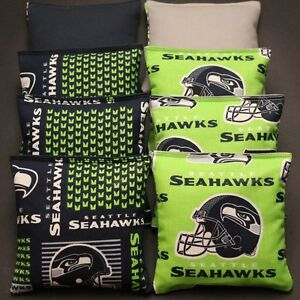 SET OF 8 ALL WEATHER SEATTLE SEAHAWKS CORNHOLE BEAN BAGS  ***FREE SHIPPING***