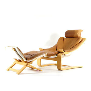 1 of 2 Retro Vintage Ake Fribyter Leather Chair Armchair + Footstool Danish 70s