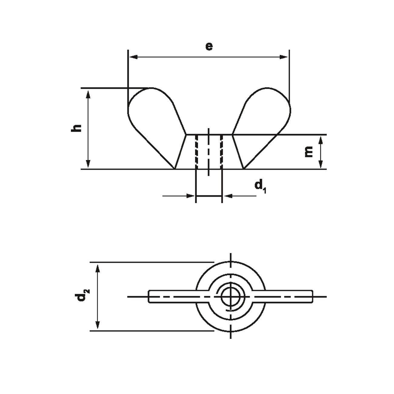 Flügelmuttern Temperguss verzinkt DIN 315  M4 - M20