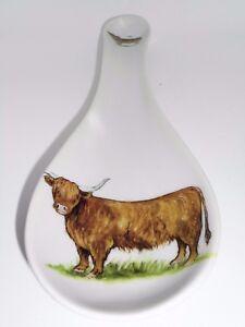 Bn Ceramic Spoon Rest Highland Cow Design Uk Seller Hand Decorated Ebay