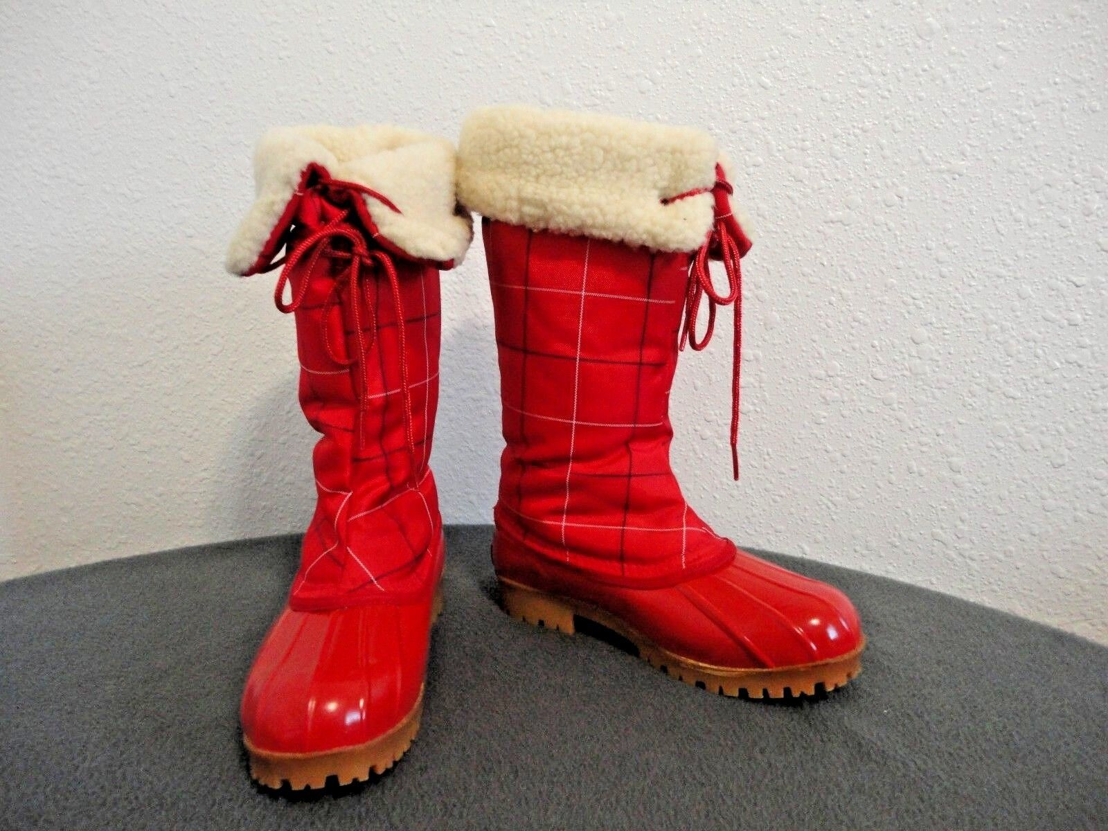 PAPPAGALLO VINTAGE 1980's WOOL LINED RED PLAID SNOW BOOTS Sz. 5 - EXCELLENT COND