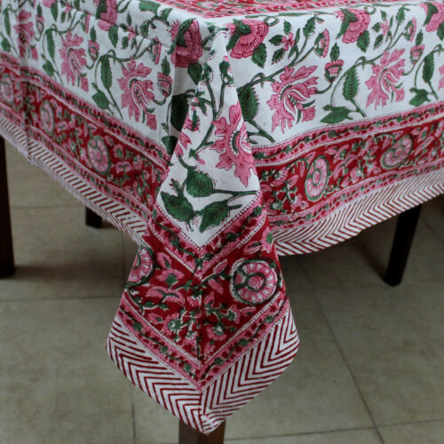 Lotus Flower Hand Block Print Cotton Floral Tablecloth Square 60x60 Red Pink