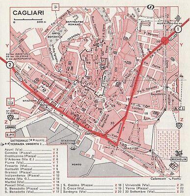 Cartina Geografica Di Cagliari.C2693 Pianta Della Citta Di Cagliari Mappa Geografica D Epoca 1967 Old Map Ebay