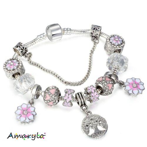 Bracelet européen charms plaqué argent Fleur Magnolia Arbre 18 20 21 cm Rose