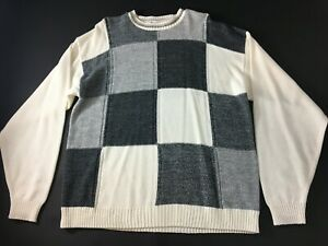 Bachrach-Mens-Gray-White-Color-Block-Mens-Long-Sleeve-Sweater-Size-XL