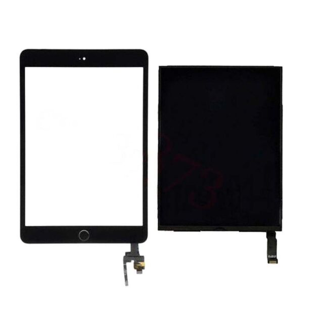 For ipad Mini 3 A1599 A1600 LCD Screen+Digitizer Touch+IC Flex Button Black USPS