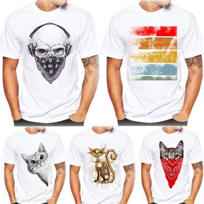 hommes impression T-Shirts Chemise manches courtes coton t-shirt chemisier chat