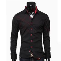 Black/White New Mens Luxury Stylish Casual Dress Slim Fit Shirts 3 Size S M L