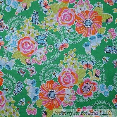BonEful Fabric FQ Cotton Quilt Green Pink Flower Bee Ladybug Butterfly Garden US