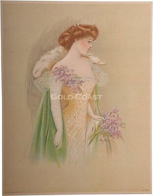 Woman /& Hair Chromolithograph Artist-Signed 1909 Victorian Color Litho Print