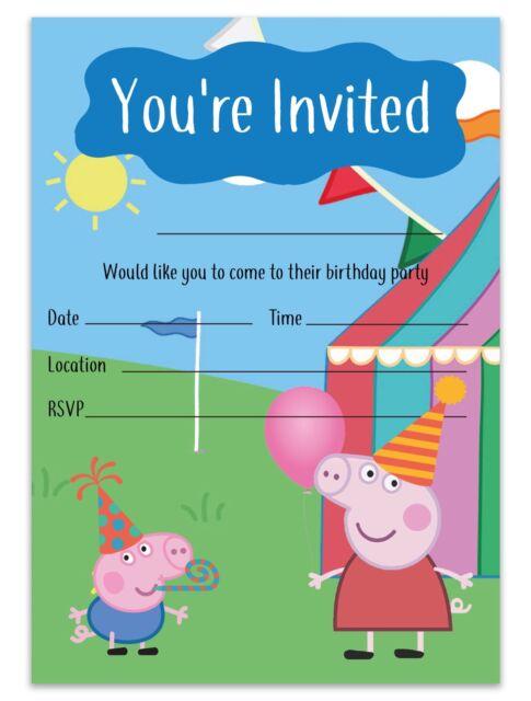 Peppa Pig Birthday Party Invitations Boy Girl Unisex Peppa Pig Theme