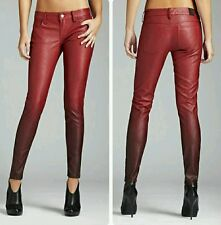 GUESS Faux Leather Ombre Jeans - Red Wine 23
