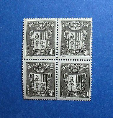 Stamps Generous 1942 Andorra French 30c Scott# 72a Michel # 83 Unused Block Nh Cs26953