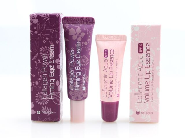 (1+1) Mizon Collagenic Aqua Volume Lip Essence + Collagen Eye Cream Tube Set