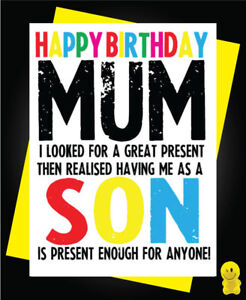 Image Is Loading Funny Rude Birthday Card Mum Son C250