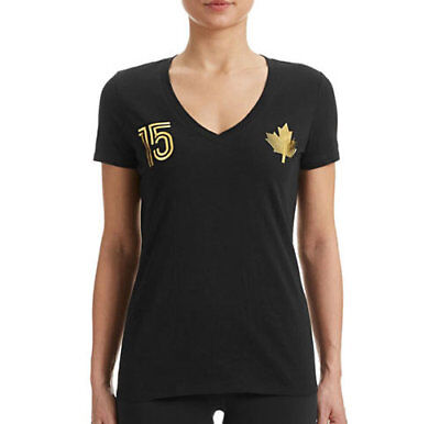 Brand New Womens OLYMPIC Canada Graphic Maple Leaf Tee HBC Black T-shirt Large