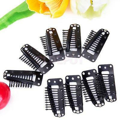 20Pcs 10 Teeth Black Snap Comb Clips 36mm for Toupee Wig Weft with Rubber Back