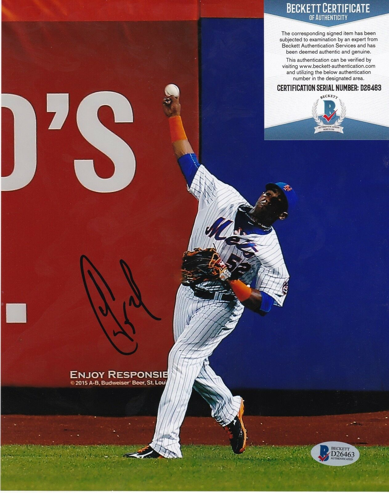Yoenis Cespedes Nuevo York Mets Beckett Authenticated Acción Firmada