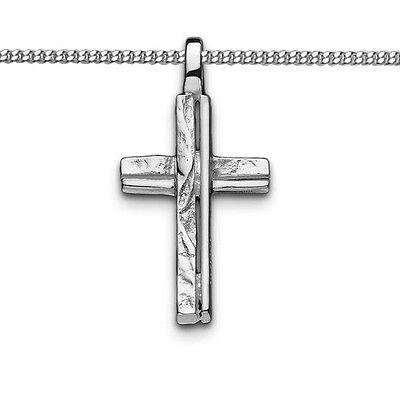 Juwelier Kinder Frauen Männer Natur Design Kreuz Anhänger mit Kette Silber 925