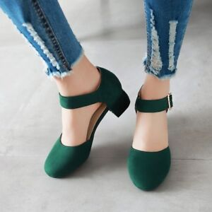 Womens-Girls-Suede-Mary-Jane-Shoes-Ankle-Buckle-Block-Heels-Round-Toe-Shoes-New