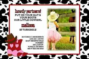 Cowboy cowgirl birthday party invitation add photo any colors boots image is loading cowboy cowgirl birthday party invitation add photo any filmwisefo