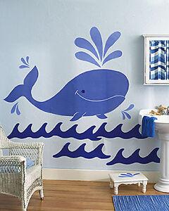 Image is loading Huge-5-039-Blue-Whale-Wall-Murals-Ocean- & Huge 5u0027 Blue Whale Wall Murals Ocean Waves Sea Life Jonah Nursery ...