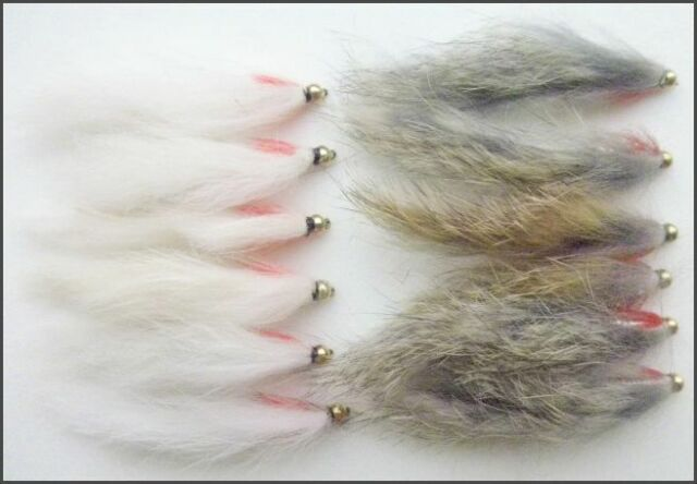 Gold head Zonker Trout Flies, 12 pack, White & Natural, Size 8/10, Fly Fishing