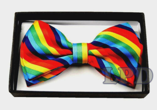 Tuxedo Adjustable Bow Tie PreTied Black And White STRIPED Print Formal BowTie