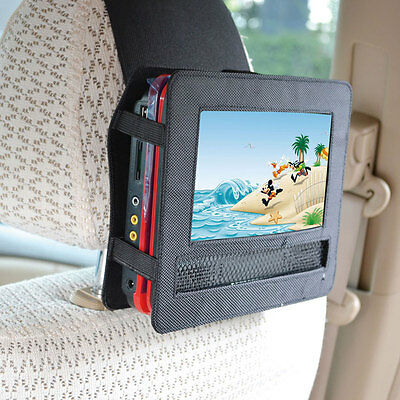 """Car headrest mount with 7""""inch portable DVD player velcro strap holder case"""