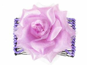 Lilac-Rose-Double-Side-Hair-Comb-Slides-Clips-Hair-Accessories