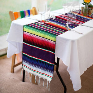 Mexican-Serape-Table-Runner-Fringe-Cotton-Tablecloth-Fiesta-Party-Dinner-Decor