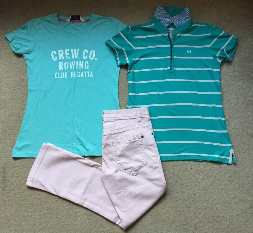 Crew Clothing Turquoise Polo Shirt T-Shirt Baby Pink Ballater Crop Jeans