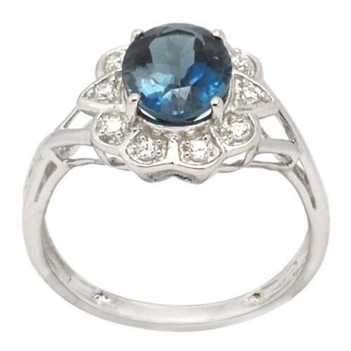 De Buman 2.48ctw London Bleu Topaz /& 925 Silver Ring Taille 7