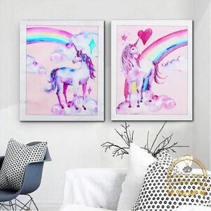 Pink-Unicorn-Rainbow-Canvas-Poster-Art-Print-Kid-Children-Living-Room-Decoration