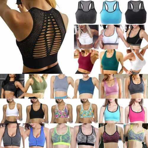 Damen Racerback Sports BH Push Up Bustier Fitness Yoga Unterwäsche Oberteile Hot