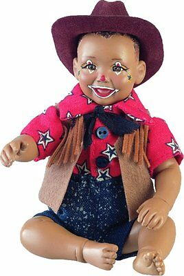 Clown Bucky New Porcelain Afro African American Brown Black Dark Baby Boy Doll