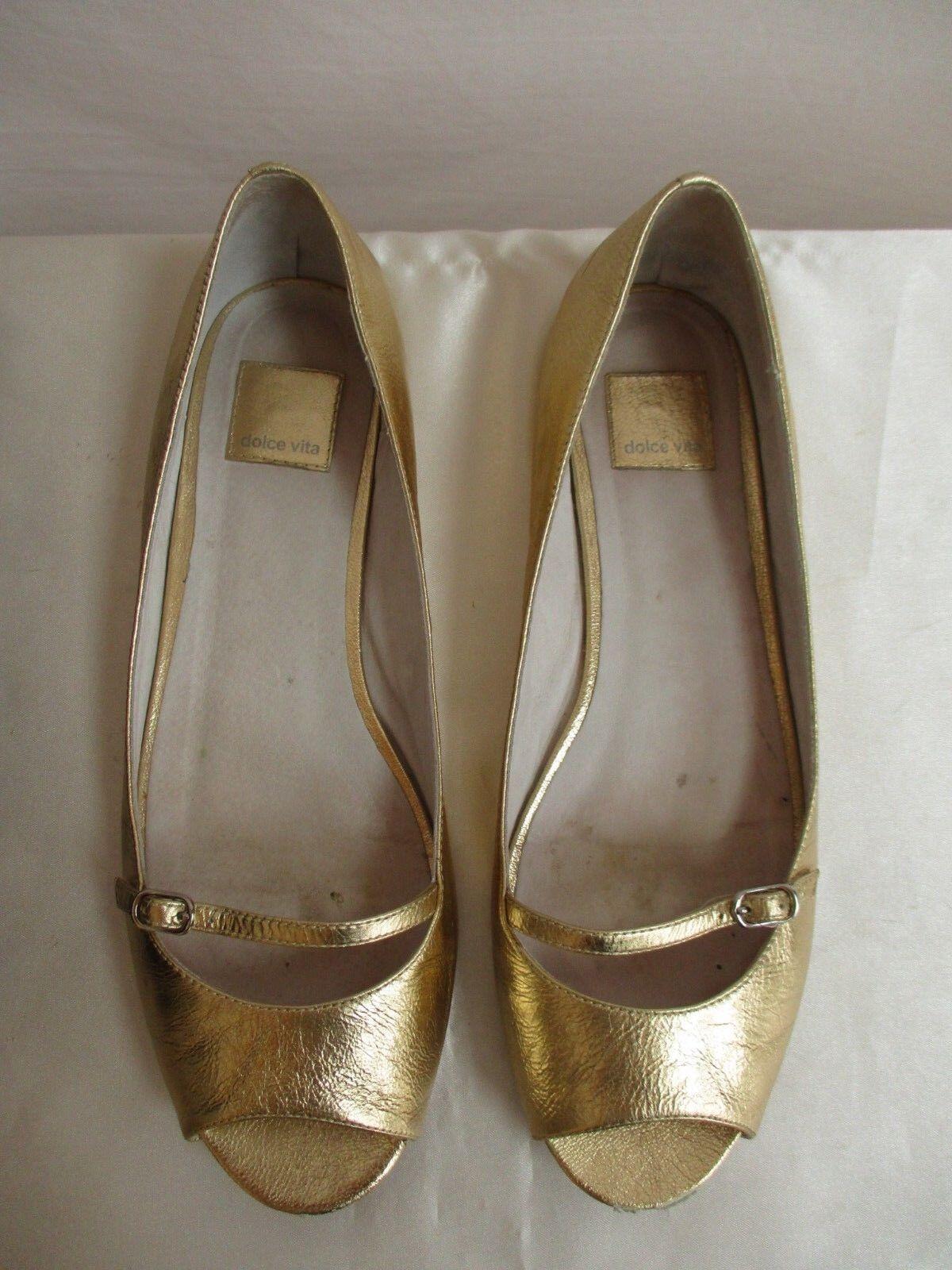 Dolce Vita Size 8.5 Open Toe Flat Mary Jane Vienna 22 Gold Flash Rare Find