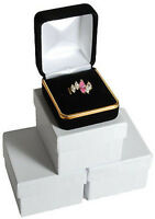 "3 Black Velvet Ring Jewelry Gift Boxes With Gold Trim 1 7/8"" x 2 1/8"" x 1 1/2""H"