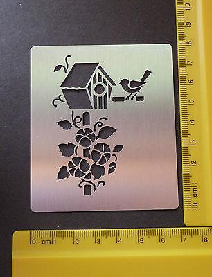 steel/stencil/Oblong/Floral/Flowers/Leaf/Bird/Birdhouse/Emboss