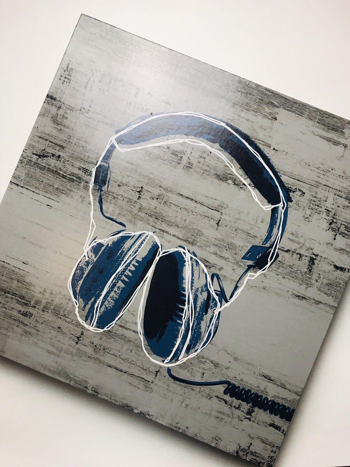 Pottery Barn Teen Wall Art  Headphones & Turntable 18x18
