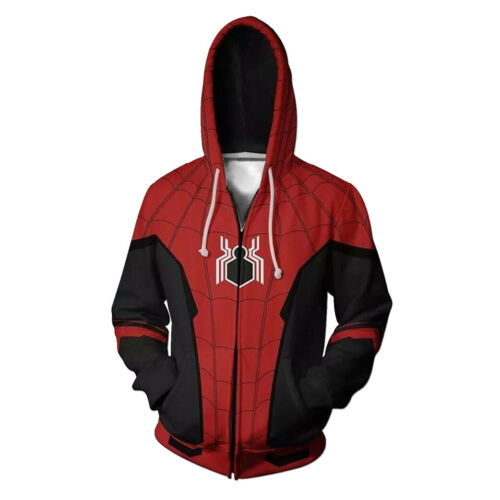 Spider-Man Far From Home Hoodie Superhero Cosplay Jacket Zip Up Sweatshirt Coat