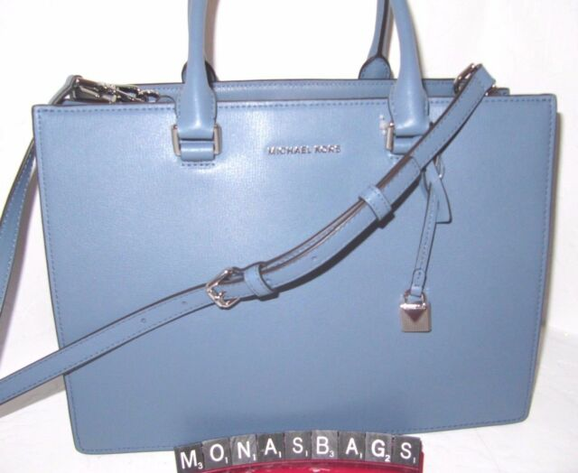 f56eb2d7d075 Michael Kors Sutton Gusset Medium Denim Blue Leather Satchel Bag NWT $298