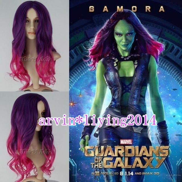 New Guardians of the Galaxy Gamora Wig Synthetic Long Wavy Gradient Cosplay Wig