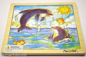 DOLPHINS-20-pc-Jigsaw-Wood-Puzzle-8-x8-Educational-Toy-Wooden-Woodcrafted-Game